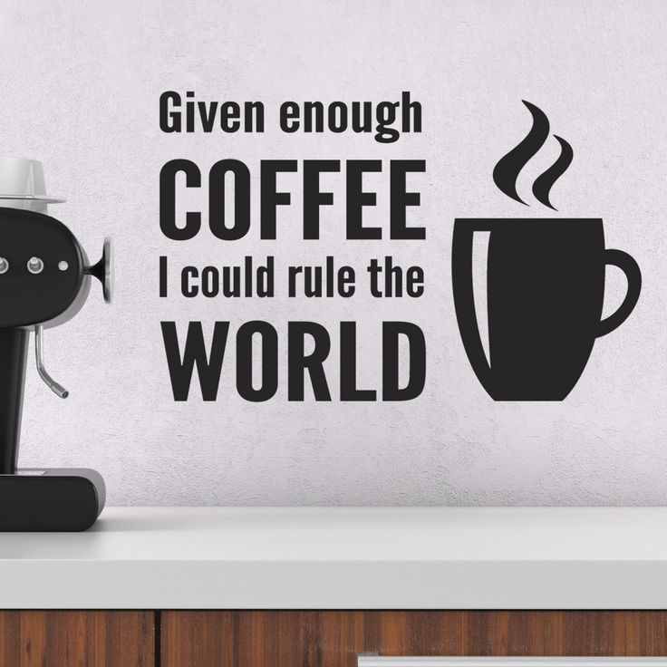 A Fun Wall Sticker For Your Kitchen Or Study ... Given Enough Coffee I