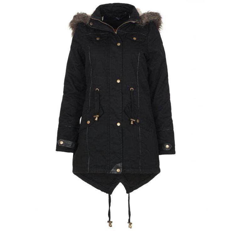 Black Hooded Parka Jacket kG3C5n