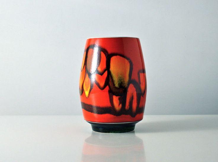 Poole Delphis vase. Red. Signed. Vintage Mid Century. 1970s. Pamela Bevans. 83