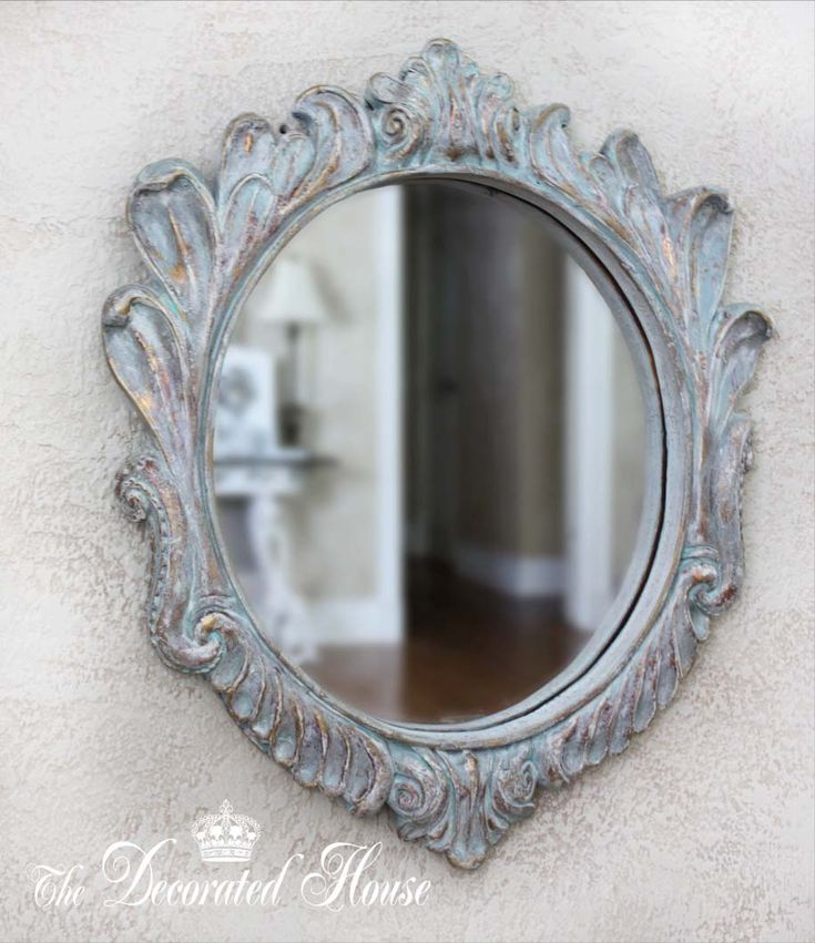 Mirror with combination of paint, dry brush, wax repeated. Base color is a  mix of Provence & Paris Blue chalk paint.