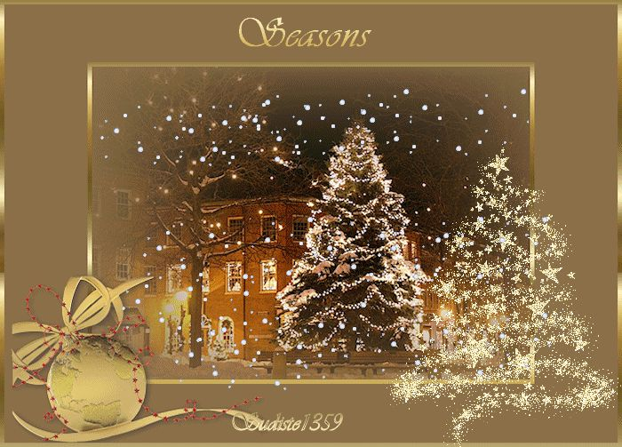Seasons Greetings home animated gold snow window gif christmas greet