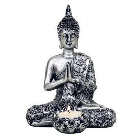 I VIANDANTI - Buddha con portalumino in color argento