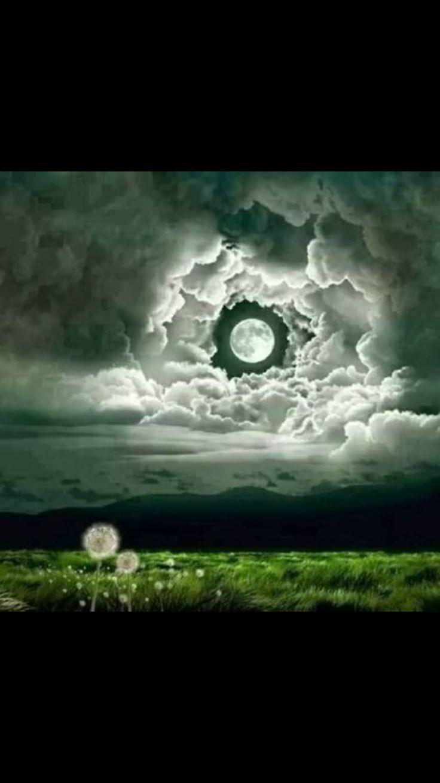Clouds around moon