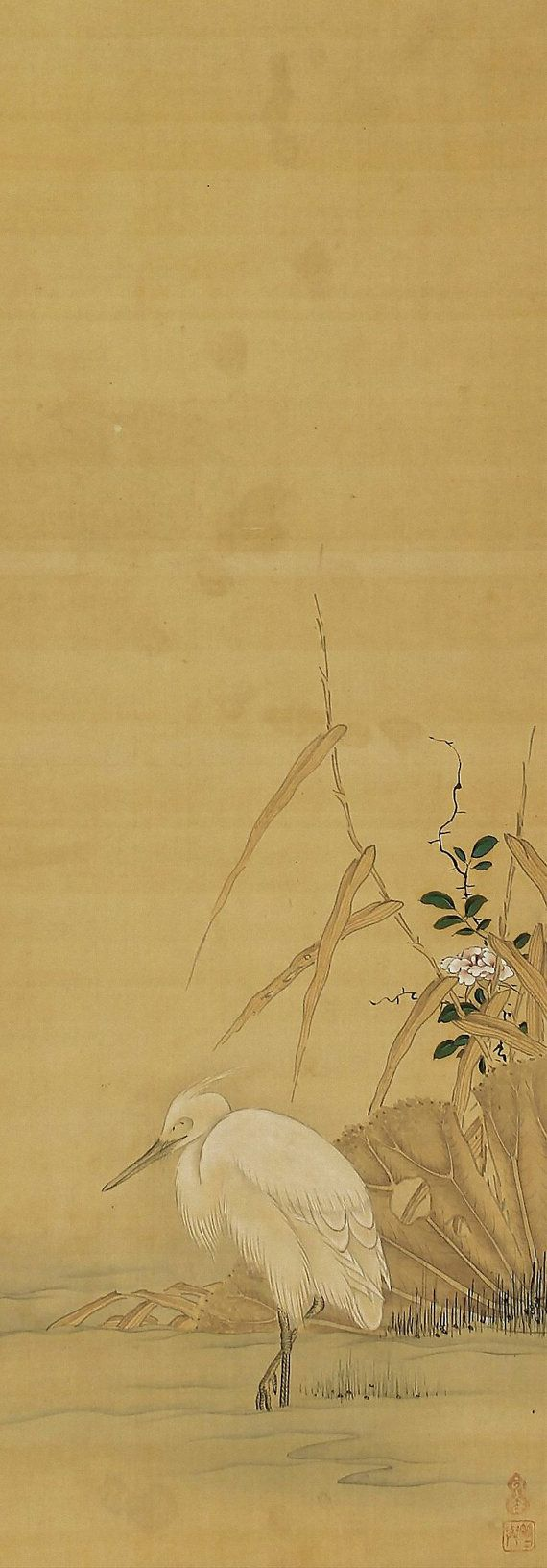 White Heron in reeds. Unkoku Togan (1547–1618). Japanese Hanging scroll painting.