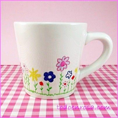 119 mejores im genes sobre tazas en pinterest sharpies - Tazas decoradas a mano ...