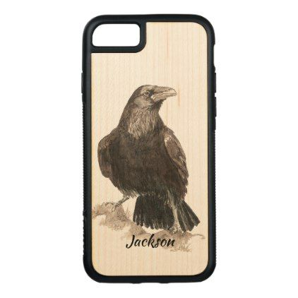 Watercolor Raven Bird Nature Art Custom Name Carved iPhone 8/7 Case - Halloween happyhalloween festival party holiday