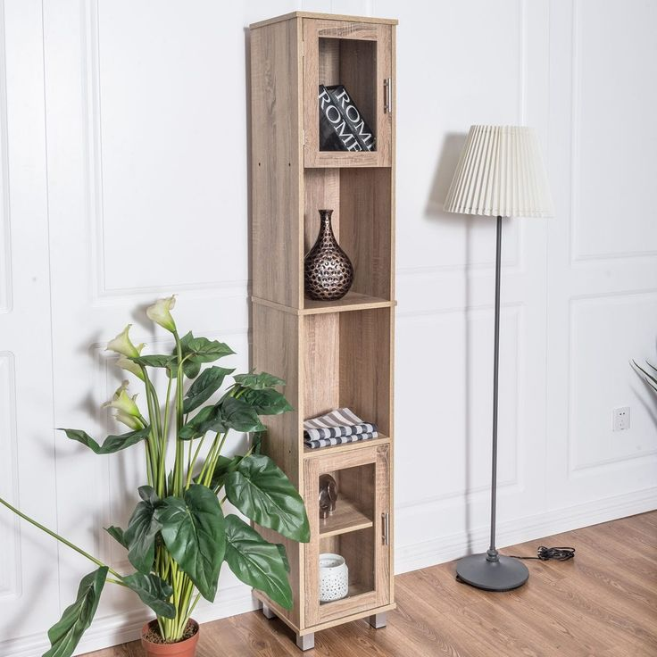 Costway 71'' Tall Bathroom Linen Tower Cabinet Bedroom Shelf Organizer Storage Wood, Brown oak