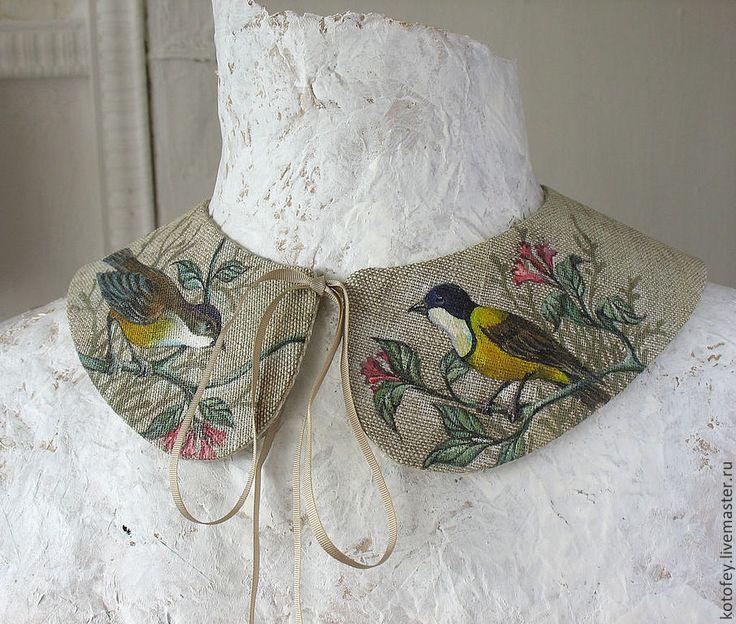 """Купить Воротничок """"Птички"""" - рисунок, воротник, воротничок, воротнички, воротничок съемный, в старинном стиле"""