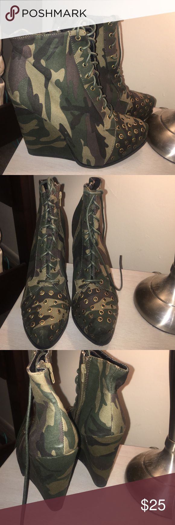 NEW camouflage ankle boots lace up sz 10 Great buy for fall no holes or stains. Comes from a smoke free home. I will be listing a lot of amazing items . Take a look! Any questions just ask Happy Poshing!!! Never worn Qupid Shoes Ankle Boots & Booties
