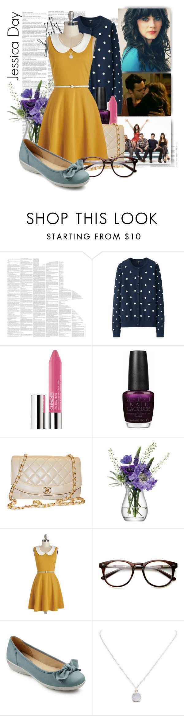 """Jessica Day from New Girl"" by salemwitchesinstitute ❤ liked on Polyvore featuring Spineless Classics, Uniqlo, Clinique, OPI, Chanel, LSA International, Hotter, Wet Seal and plus size dresses"