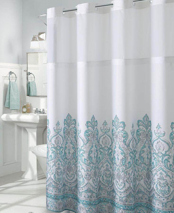 Hookless Damask Border Print 3in1 Shower Curtain