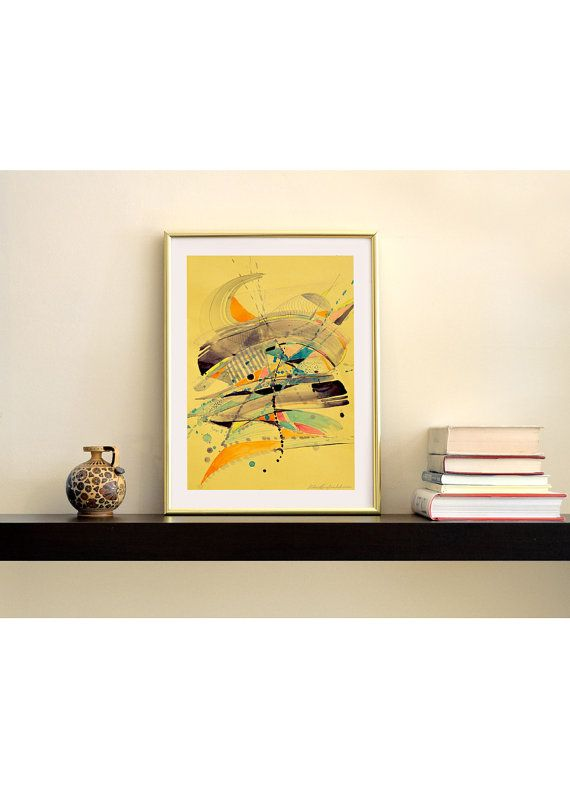Original watercolor abstract painting on yellow by MilenskaArt
