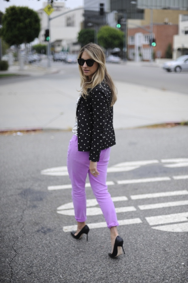 purple pantsFashion, Meeting Polka, Lights Purple Pants Outfit, Polka Dots Shirts, Complete Shift, Cupcakes And Cashmere, Ideal Balance, Colors Denim, Cupcakes Rosa-Choqu