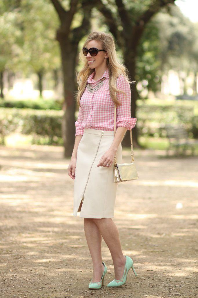 Glam Gingham: pink gingham button-down shirt, J. Crew ivory assymetrical zip pencil skirt, mint pumps for spring, Brahmin gold shoulder bag, metallic handbag, gingham and pencil skirt spring outfit