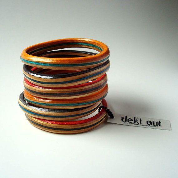 recycled skateboard bangle bracelets via dektout $27: Custom Skateboard, Skateboard Decks, De Skateboard, Upcycled Skateboard, Sk8Board Bangles, Skateboard Bangles, Bangles Bracelets, Recycled Skateboard, Skating Boards