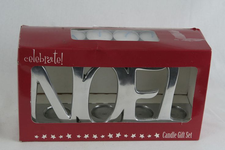 NOEL Silver Candle Gift set Tea light candle Holder with 8 tea lights NIB #CelebrateCandlelite