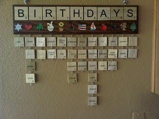 scrabble tile birthday calendar...so gonna make one of these!!!!