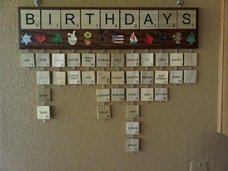 scrabble tile birthday calendar...so gonna make one of these!!!!