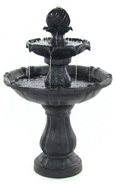 Two Tier Solar-on-Demand Fountain, Black - midcentury - Outdoor Fountains - Serenity Health & Home Decor