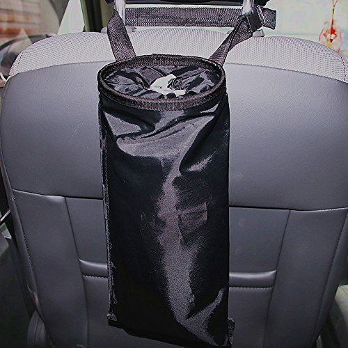 """Car Garbage Bag for Truck Vehicle Back Seat Headrest and Shift Stick Trash Litter Can and Auto Waste Holder(Black)  Made with ECO-friendly high quality Oxford material, washable, durable to use in car, home, office, etc  Elastic top opening works well to keep mostly rubbish inside  Adjustable tighten belt for hanging on the headrest,shift stick etc  Bottom with Velcro design, easy to open for emptying  Size: 7.3""""*14"""". Keep kinds of small rubbish and things inside."""