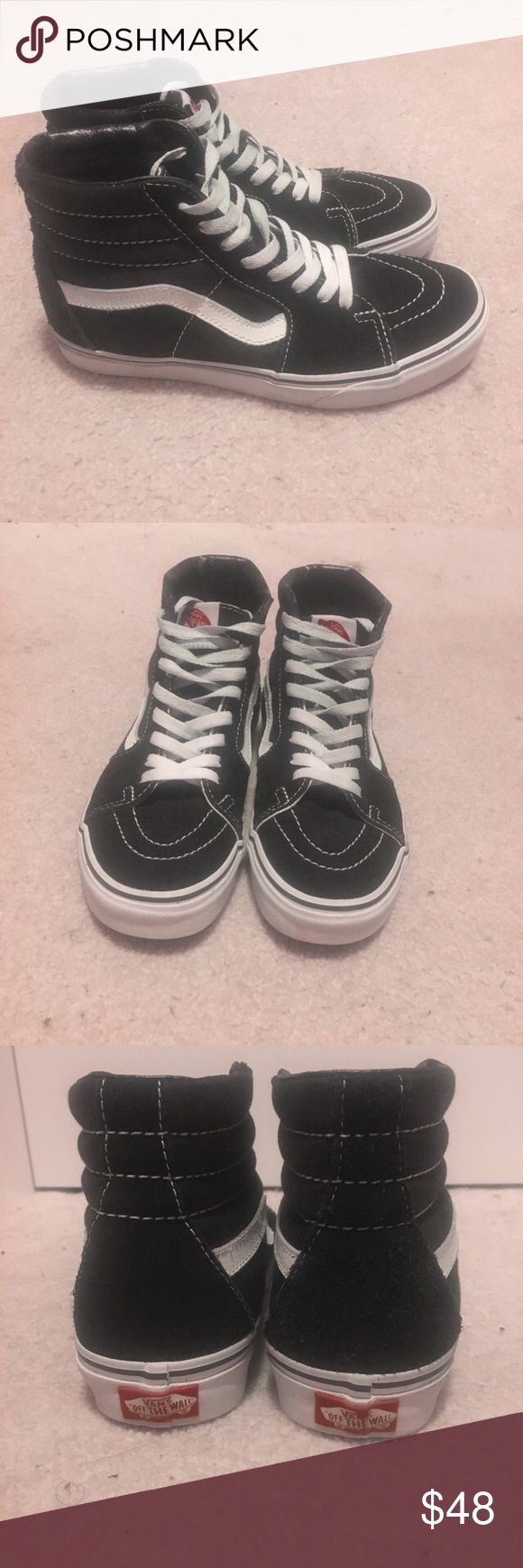 Black Sk8 Hi Vans these are black sk8 hi vans and have only been worn a few times. they are in very good condition and there are no problems with them other than a small gray stain on one of the white stripes of the left shoe that can easily be cleaned off (pictured). they are size 7 women's and size 5.5 men's. Vans Shoes Sneakers