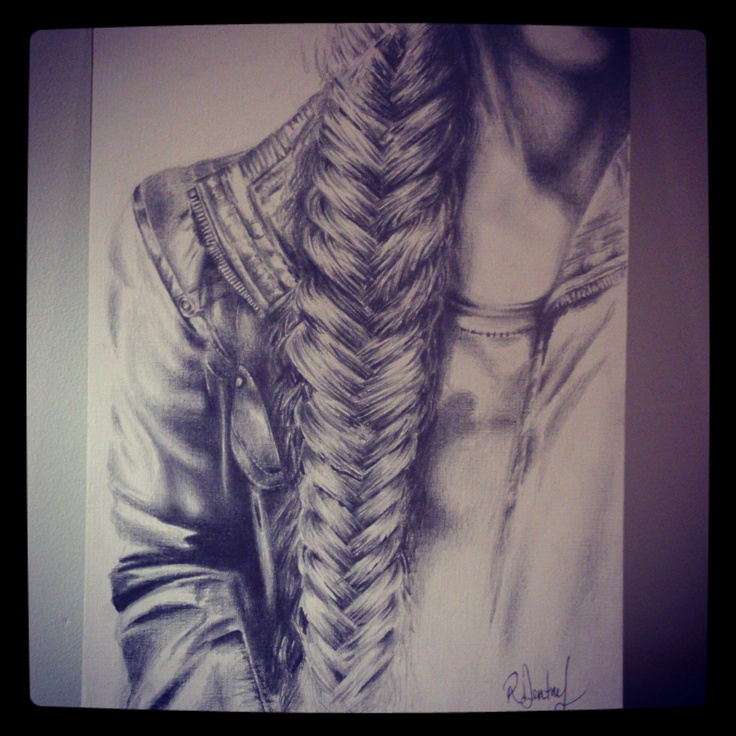 Pencil sketched braid by Roxanne Dentry