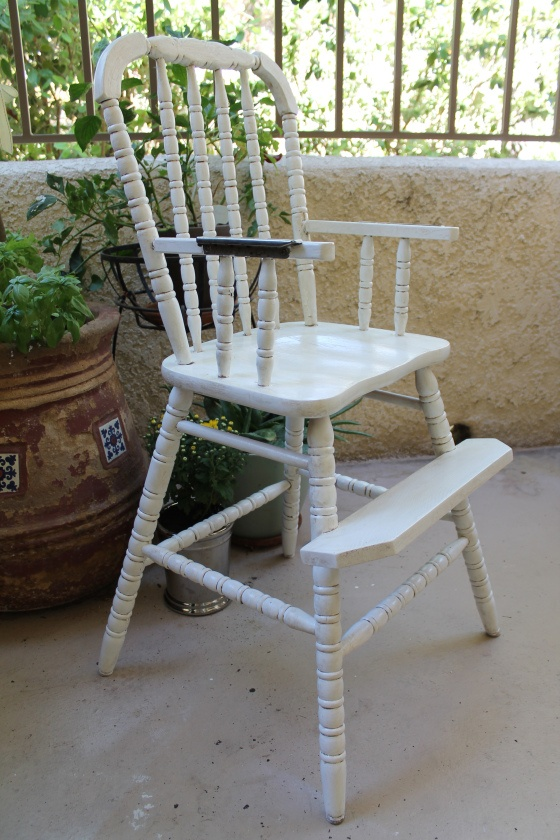 antique white vintage high chair