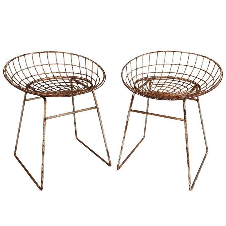 Pair of rusty Cees Braakman metal stools ca.1960