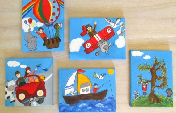 Car-aeroplane-airballon-boat-tree-personalized boys room decoration