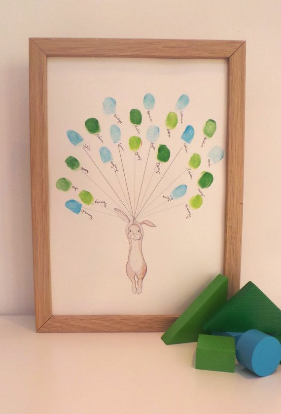 Baby shower Keepsake art, Rabbit holding thumb/fingerprint balloons, Baby shower activity, nursery art, baby decor,custom art A4or8x10ir