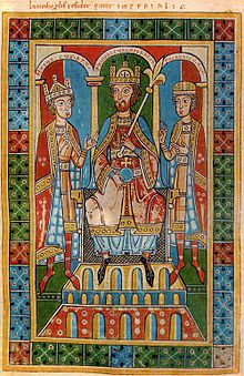 Friedrich Barbarossa und seine Söhne Heinrich VI., der bereits die Königskrone trägt (links), und Friedrich, Herzog von Schwaben; Miniatur aus der Welfenchronik (Weingartener Fassung, 1167 begonnen, das Bild wurde 1179 hinzugefügt)