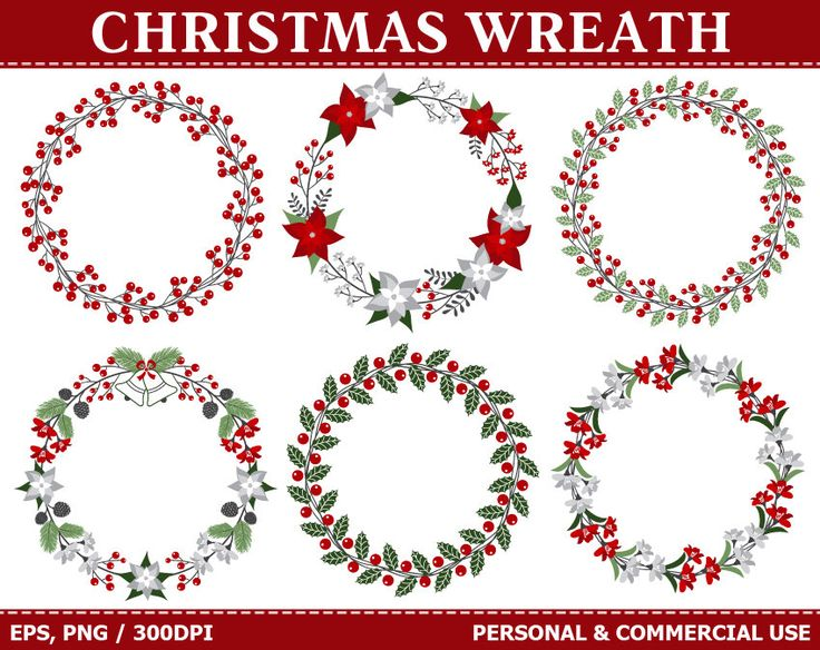 BUY 1 GET 1 FREE - Christmas Wreath Clip Art - Flowers, Wreath, Poinsettia, Holly, Leaves, Berry Clip Art. Commercial and Personal use by TheCreativeMill on Etsy https://www.etsy.com/listing/209163127/buy-1-get-1-free-christmas-wreath-clip