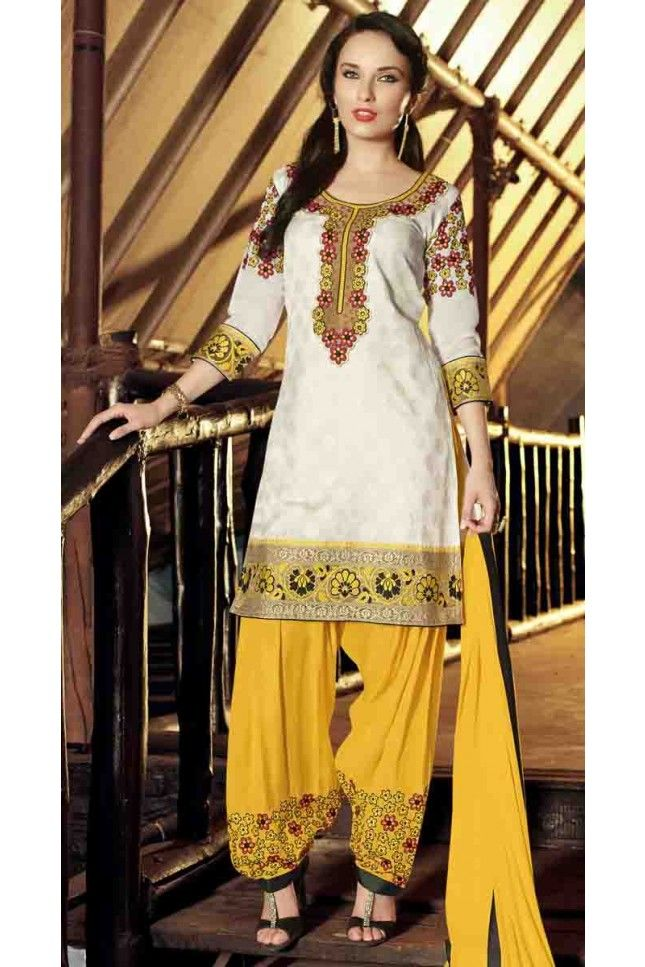 White Cotton Jacquard Embroidered Patiala Salwar Suit