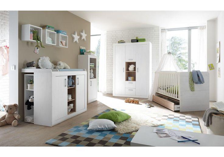 Diese tolle Serie überzeugt durch viel Stil und Charme. Dieses Babyzimmer wird alle Blicke auf sich ziehen.   91-00563 Babyzimmer mit Bett 70 x 140 cm Anderson Pinie/ Eiche sägerau
