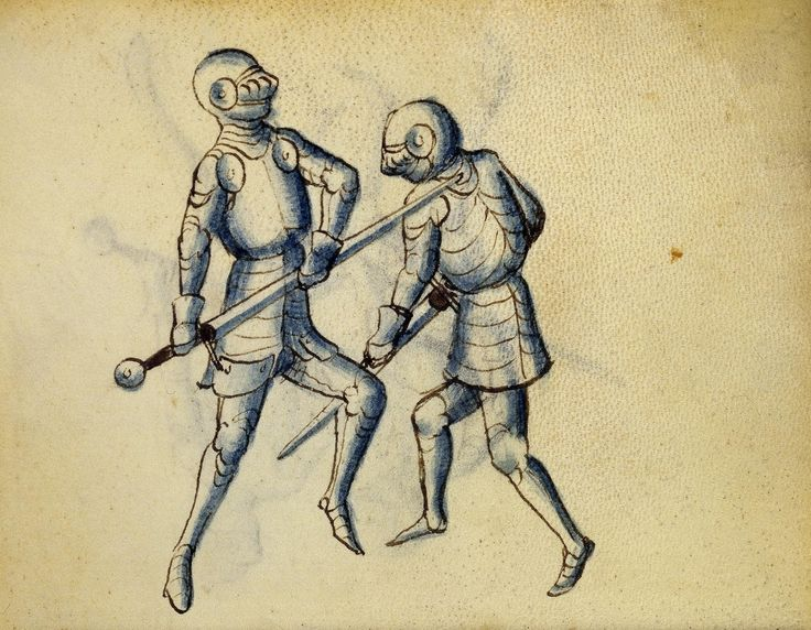 Cod. 11093, 17v: Book on Swordsmanship and Wrestling, mid-15th c. Austrian National Library, Public Domain