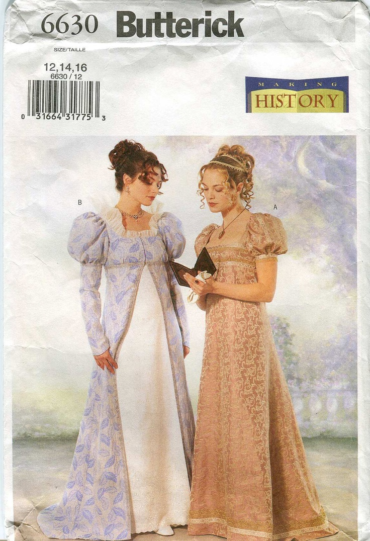 Butterick 6630 Making History pattern - Jane Austen Costume pattern - Regency Era. $8.00, via Etsy.