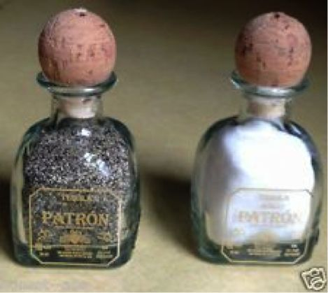 Single shot, Patron jars, recycled into salt & pepper shakers! I gotta make this!