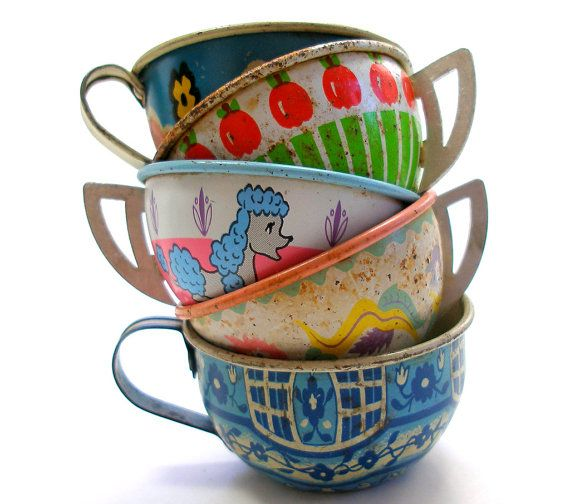 Vintage Toy Tea Cups ...we used to play outside in our shed/playhouse with cups just like these.  Play tea parties were the best!
