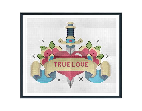 Heart Tattoo Banner Custom Cross Stitch Pattern by tinymodernist