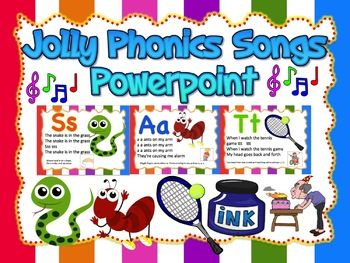 Jolly Phonics songs Powerpoint can bed used as flashcards, wall decor for your classroom or as a teaching aid. This product is fully editable. You can insert the mp3 songs and use it for teaching. Using powerpoints would make your class more effective and less boring.