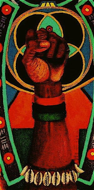 The Black Power fist is a logo associated with black nationalism and sometimes socialism. Its most known to be used by the Black Panther Party in the 1960s. A black fist logo was also adopted by the northern soul music subculture.