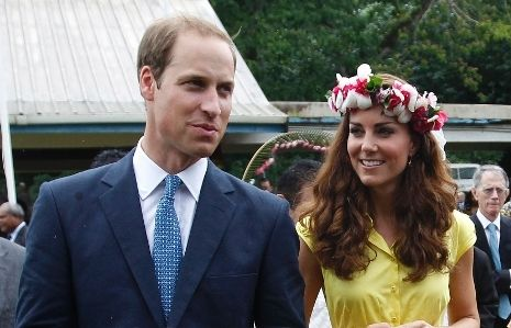 The Duchess of Cambridge and Prince William, Duke of Cambridge visit a cultural village on their Diamond Jubilee tour of the Far East on September 17, 2012 in Honiara, Guadalcanal Island.