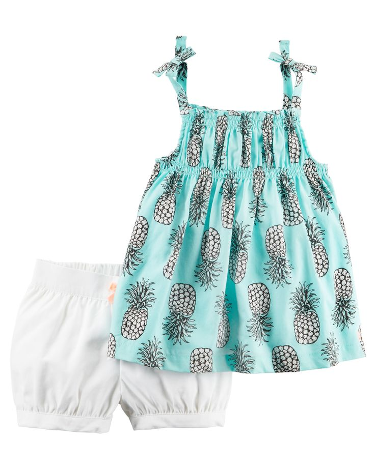 Baby Girl 2-Piece Pineapple Tie Tank & Bubble Short Set | Carters.com