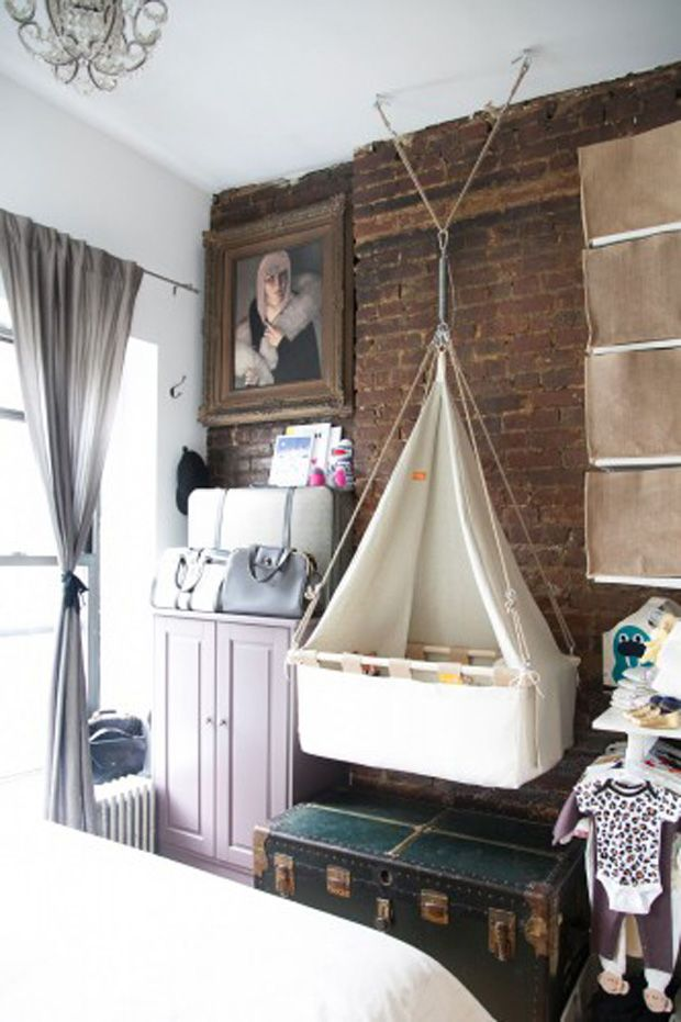 What a beautiful and unique idea for a crib, the hammock crib. Not that I plan on having another, just liked the uniqueness of this crib.