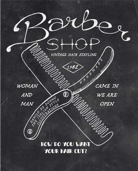 Vintage Barber shop. Handmade Illustration. Fashion Print…