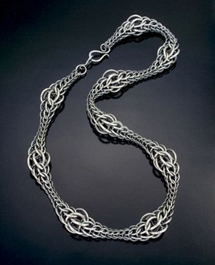 Necklace | Julia Lowther.  Chain mail 'Persian Wave'.  Sterling silver