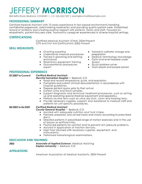 medical assistant resume example sample resumes livecareer best samples