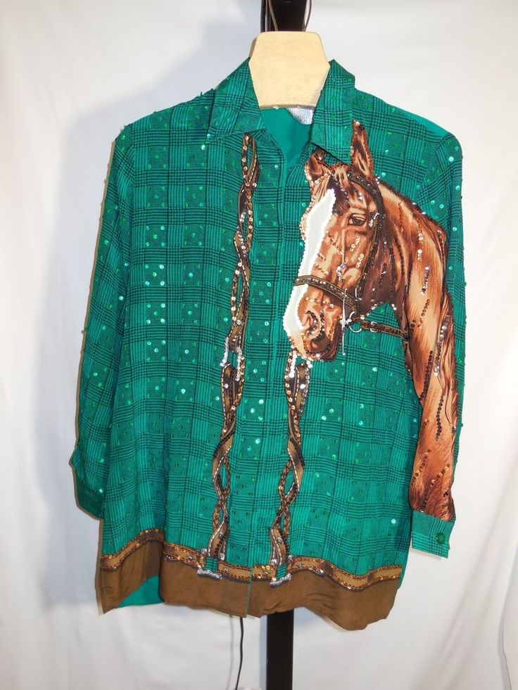 MISSES SEQUIN EMBELLISHED HORSE 100% SILK BLOUSE KENTUCKY DERBY DIANE GILMAN  M #DianeGilman #Blouse