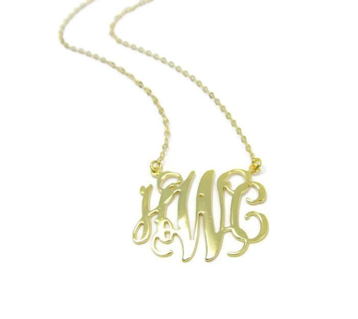 """Monogram Necklace. 1"""" Initial necklace. Gold plated sterling silver 925. Gold initial necklace. Gold monogram necklace. Personalized jewelry"""