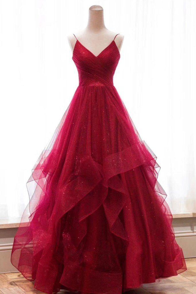 Burgunder V-Ausschnitt Tüll langes Abendkleid, Burgunder Abendkleid – Ballkleider Ideen